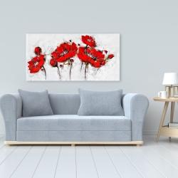 Toile 24 x 48 - Fleurs de pavot abstraites