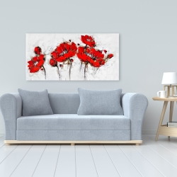 Canvas 24 x 48 - Abstract poppy flowers