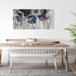 Canvas 24 x 48 - Blue blurry flowers
