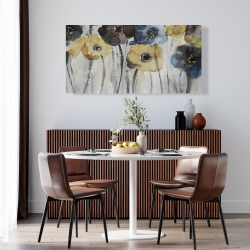 Canvas 24 x 48 - Gray blue and yellow flowers