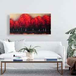 Canvas 24 x 48 - Red trees by a dark day