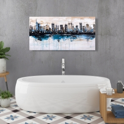 Canvas 24 x 48 - Abstract city with reflection on water