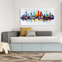 Canvas 24 x 48 - Abstract and colorful city
