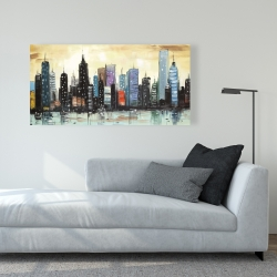 Canvas 24 x 48 - Skyline on abstract cityscape