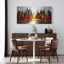 Canvas 24 x 48 - Abstract red skyline