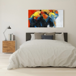 Canvas 24 x 48 - Colorful abstract moving elephant