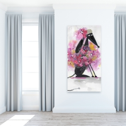 Canvas 24 x 48 - Cartoon dog with pink flowers