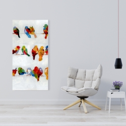 Canvas 24 x 48 - A lot of colorful birds on a wire