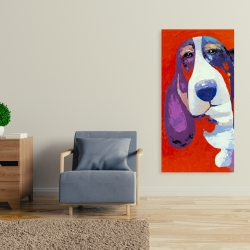 Canvas 24 x 48 - Abstract colorful basset dog
