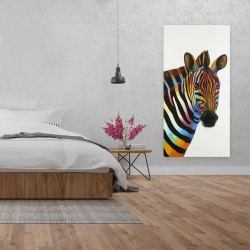 Canvas 24 x 48 - Colorful profile view of a zebra