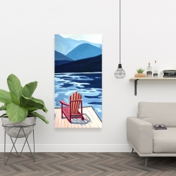 Canvas 24 x 48 - Lake, dock, mountains & chairs