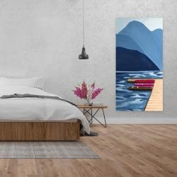 Canvas 24 x 48 - Lake, quai & mountains