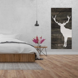 Canvas 24 x 48 - Deer silhouette on wood