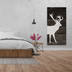 Canvas 24 x 48 - Deer on wood background