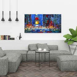 Canvas 24 x 48 - Colorful and abstract times square by night