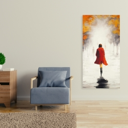 Canvas 24 x 48 - Woman with a red coat by fall