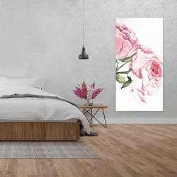 Canvas 24 x 48 - Watercolor pink roses