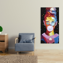 Canvas 24 x 48 - Colorful audrey hepburn portrait with bubblegum