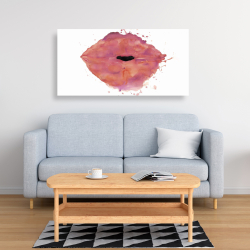 Canvas 24 x 48 - Watercolor pink lipstick