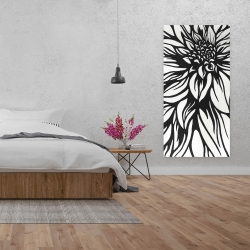 Canvas 24 x 48 - Dahlia flower outline style