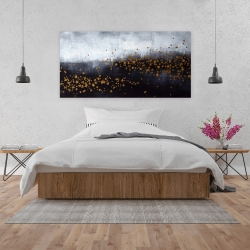 Canvas 24 x 48 - Two shades of gray with gold dots