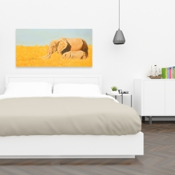 Canvas 24 x 48 - Elephant and its little one