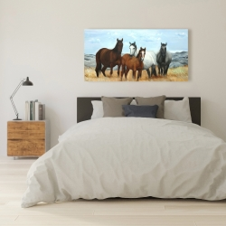Canvas 24 x 48 - Horses in the meadow by the sun