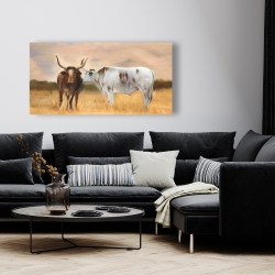Canvas 24 x 48 - Two cows kissing by sunset