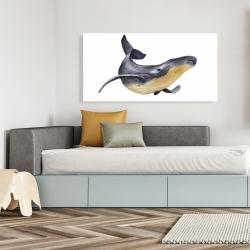 Canvas 24 x 48 - Watercolor blue whale