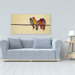 Canvas 24 x 48 - Five birds on a branch