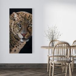 Canvas 24 x 48 - Realistic fierce leopard
