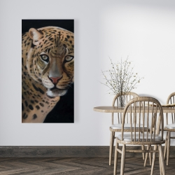 Canvas 24 x 48 - Realistic fierce leopard