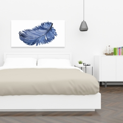 Canvas 24 x 48 - Watercolor blue feather