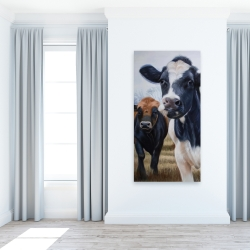Canvas 24 x 48 - Two cows eating grass
