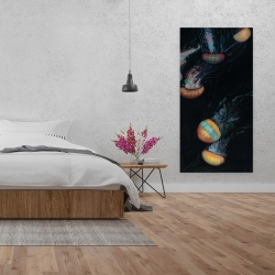 Canvas 24 x 48 - Colorful jellyfishes swimming in the dark