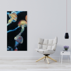 Canvas 24 x 48 - Colorful jellyfishes in the dark