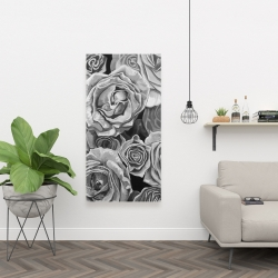 Canvas 24 x 48 - Grayscale roses