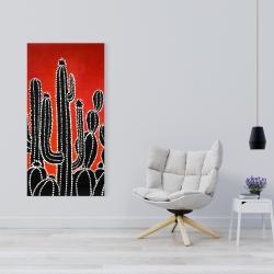 Canvas 24 x 48 - Black tall cactus
