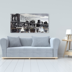 Canvas 24 x 48 - Brooklyn bridge with sailboats