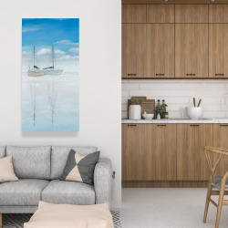 Canvas 24 x 48 - Two sailboats on the quiet lake