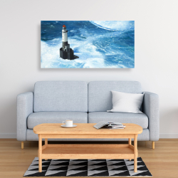 Canvas 24 x 48 - Unleashed waves on a lighthouse