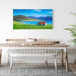 Canvas 24 x 48 - Scottish highlands with a little red roof house