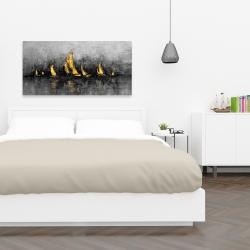 Canvas 24 x 48 - Gold sailboats