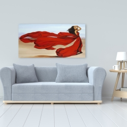 Canvas 24 x 48 - Woman with a long red dress in the desert