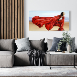 Canvas 24 x 48 - Red dress in the desert