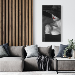 Canvas 24 x 48 - Mysterious woman with a hat