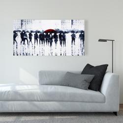 Canvas 24 x 48 - Silhouettes walking in the rain
