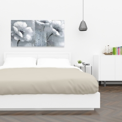 Canvas 24 x 48 - Peaceful black & white flowers