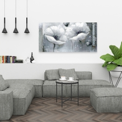 Canvas 24 x 48 - Grayscale flowers