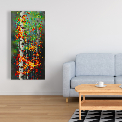 Canvas 24 x 48 - Colorful dotted leaves birches